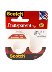 3M Scotch 144 Transparent Tape with Dispenser, Red/White