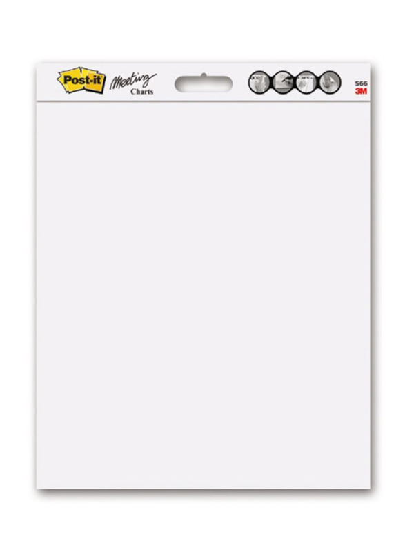 3M Post-it 563-DE Super Sticky Tabletop Easel Pad with Dry Erase Surface, 504 x 584mm, 20 Sheets, White