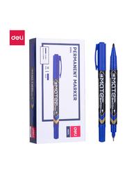Deli U10430 Twin Marker Pen, 12 Pieces, 0.5-1mm, Blue