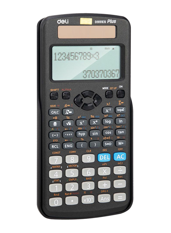 Deli ED991ES 10 + 2 Digits 417F Scientific Calculator, Black