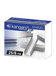 Kangaro 26/8 Staple Pins, 1mm, 1000 Pieces, Silver