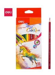 Deli EC00300 Color Pencil, 12 Pieces, Multicolor