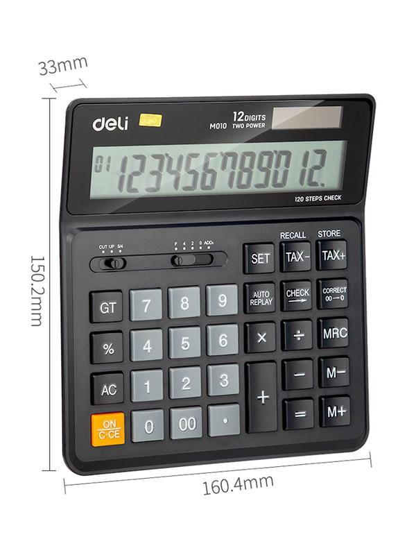Deli EM01020 12 Digits Calculator with 120 Steps Check, Black