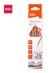 Deli EU50400 HB Graphite Pencil with Eraser, 12 Pieces, Brown