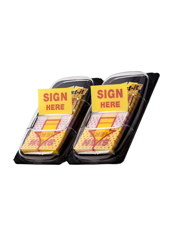 3M Post-It 680-Sh2 Sign Here Tape Flag, 25.4 x 43.2mm, 2 x 50 Sheets, Multicolor