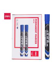Deli U10130 Permanent Marker, 12 Pieces, 1.5mm, Blue