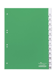 Durable 6210 Index Sets with 1-12 Pre-Inserted Printed Inserts, Clear