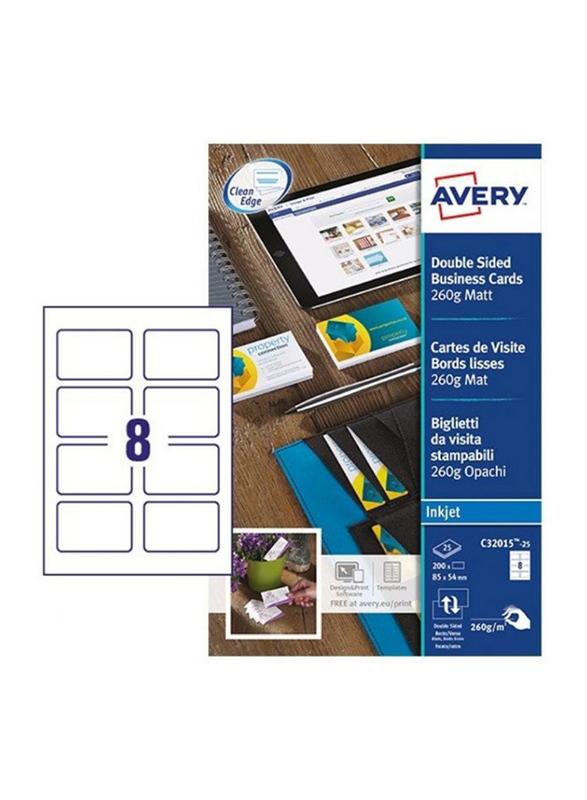 Avery C32015-25 Premium Business Cards, 260 GSM, 85 x 54mm, 8 Cards Per Sheet, 25 Sheets Per Pack, Matt White