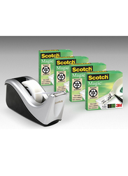 3M Scotch C60-BK4 Desktop Pack Dispenser and 4 Rolls Magic Tape, Silver/Black