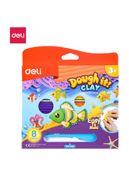 Deli D75120 Plasticine Clay, 8 Pieces, 240 grams, Multicolor