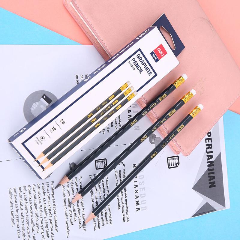 Deli EU20200 Graphite Pencil with Eraser, 12 Pieces, Black