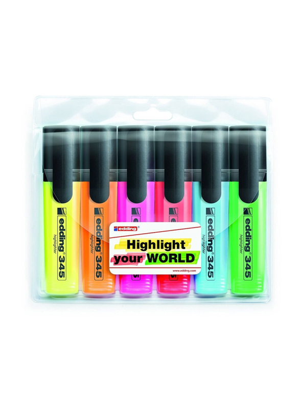 Edding E-345/4 S Highlighters, 6 Pieces, Yellow/Orange/Green/Blue/Pink/Red