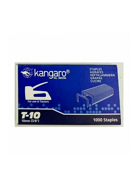 Kangaro T-10 Gun Staple Pins, 1000 Pieces, Silver