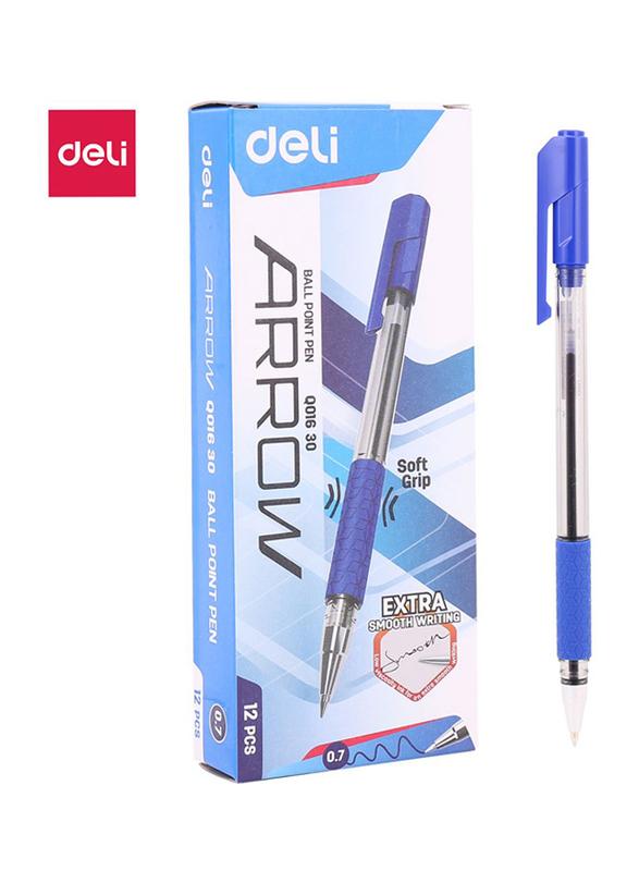 Deli Q01030 Arrow Soft Grip Ball Pen, 12 Pieces, 7mm, Blue
