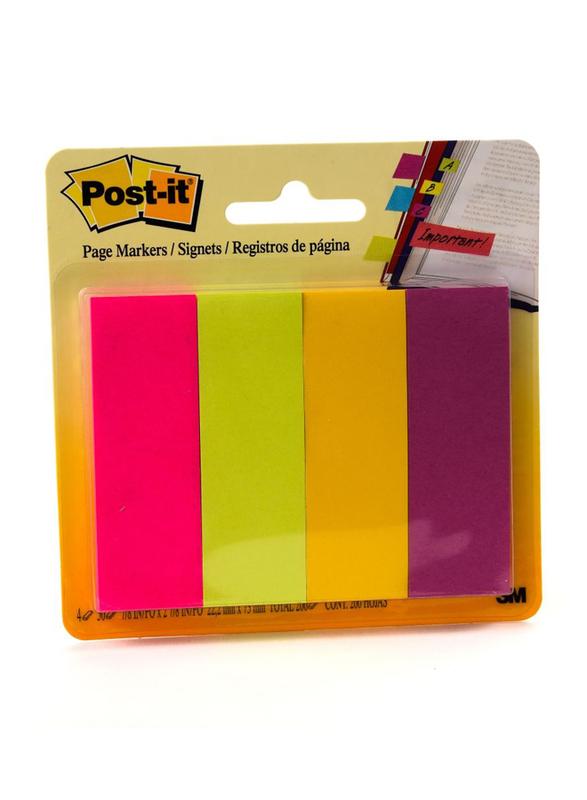3M Post-It 671-4Au Page Marker, 2.22 x 7.3cm, 4 x 50 Sheets, Multicolor