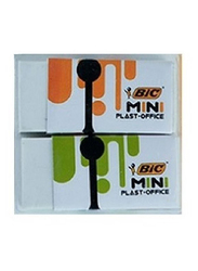 BIC Mini Plast Office Eraser, 2 Pieces, White