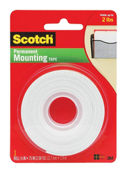 3M Scotch 110 Permanent Mounting Tape, 12.7 x 1.9 meters, White