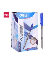 Deli Q01030 Arrow Smooth Ball Pen, 50 Pieces, 7mm, Blue