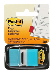 3M Post-It 680-23 Tape Flags, 25.4 x 43.18mm, 50 Sheets, Bright Blue
