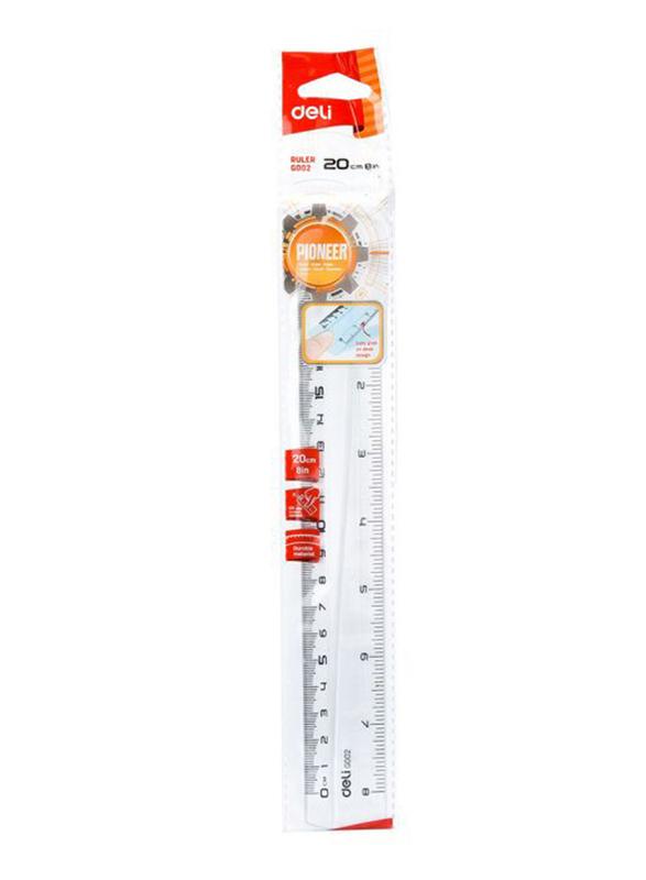 Deli EG00212 Plastic Ruler, 200mm, Clear