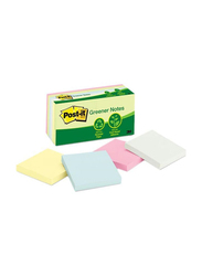 3M Post-It 654-RP-A Sun washed Pir Greener Sticky Notes, 76 x 76mm, 4 x 100 Sheets, Multicolor