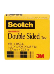 3M Scotch 665-1225 Double Sided Tape, 12.7mm x 22.8 meters, Clear