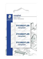 Staedtler Rasoplast 526 B3 BK3D Eraser Set, 1 x Rasolplast Combi Eraser, 2 x Rasoplast Eraser, White