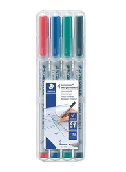 Staedtler Lumocolor Non-Permanent 311 WP4 Universal Pens, S, 4 Pieces, Multicolor