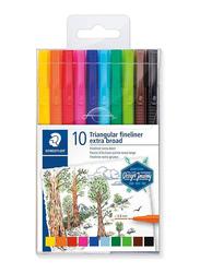 Staedtler Triangular Fineliner 338 TB10-CST Broadliner Pens, 10-Pieces, Multicolor