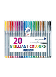 Staedtler 20-Piece Triplus Superfine Fineliner Pen Set with Metal Clad Tip, 0.3mm, 334SB20BK, Multicolor