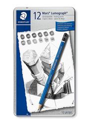 Staedtler 12-Piece Mars Lumograph 100 G12 Art Drawing Pencils Set, Blue