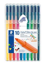 Staedtler Triples Color 323 Fiber-Tip Pens, 1.0mm, 10-Pieces, Multicolor