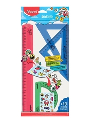 Maped 4-Piece Stick Art Drawing Rulers Set, Red/Blue/Green