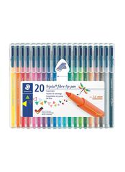 Staedtler Triples Color 323SB20P Fiber-Tip Pens, 20-Pieces, Multicolor