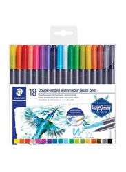 Staedtler 3001 TB18 Double Ended Watercolor Brush Pens, 18-Pieces, Multicolor