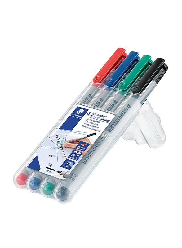 Staedtler Lumocolor Non-Permanent 315 WP4 Universal Pens, M, 4 Pieces, Multicolor
