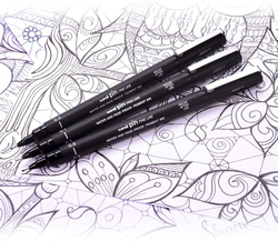 Uni Pin 6-Piece Fineliner Drawing Pen Set, Assorted Tips, Black