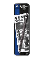 Staedtler 6-Piece Mars Lumograph Professional Art Carbon Blend Sketch Pencil Set, 100B G6, Black