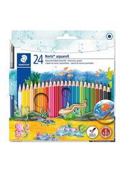 Staedtler Noris Club 144 10Nc24 Aquarelle Watercolor Pencils Set, with Paint Brush, Assorted Colors, 24 Pieces, Multicolor
