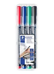Staedtler Lumocolor Permanent 317 WP4 Universal Pens, 1.0mm, 4-Pieces, Multicolor