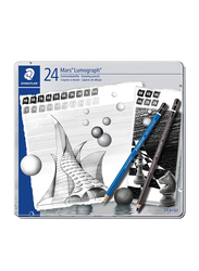 Staedtler 24-Piece Mars Lumograph Drawing Pencils Set, 100G24S, Black