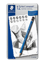 Staedtler ST-100-G12 Premium Quality Drawing Pencils Set, In Metal Tin, 12 Pieces, Multicolor