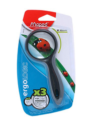 Maped Ergo Logic Small 3X Magnifying Glass, 50mm, Silver/Black
