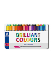 Staedtler Triples Fineliner 334 M50 Pens with Metal Tin Container, Width 0.3mm, 50-Pieces, Multicolor