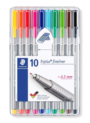 Staedtler Triples Fineliner 334-SB10 Pens with Magical Jungle Coloring Book, 10-Pieces, Multicolor
