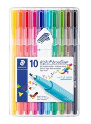 Staedtler 10-Piece Triplus Broadliner Pen Set, 0.8mm, Multicolor