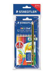 Staedtler 12-Piece Noris 61 Set 6 Pencil Colors with HB Pencil & Eraser, Multicolor