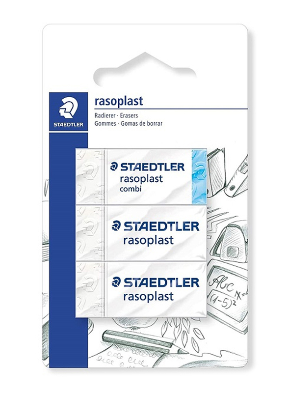 Staedtler Rasoplast 526-S BK3D Eraser, with Blister Card, 2 Pieces, White