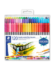 Staedtler 3200 TB120 Double Ended Fiber-Tip Pens, 120-Pieces, Multicolor