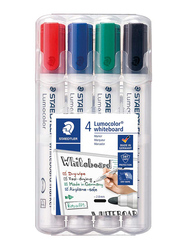 Staedtler Lumocolor 351 WP4 Whiteboard Markers with Bullet Tip, 4-Pieces, Multicolor